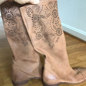 Anthropologie leather boots w/ cutouts.